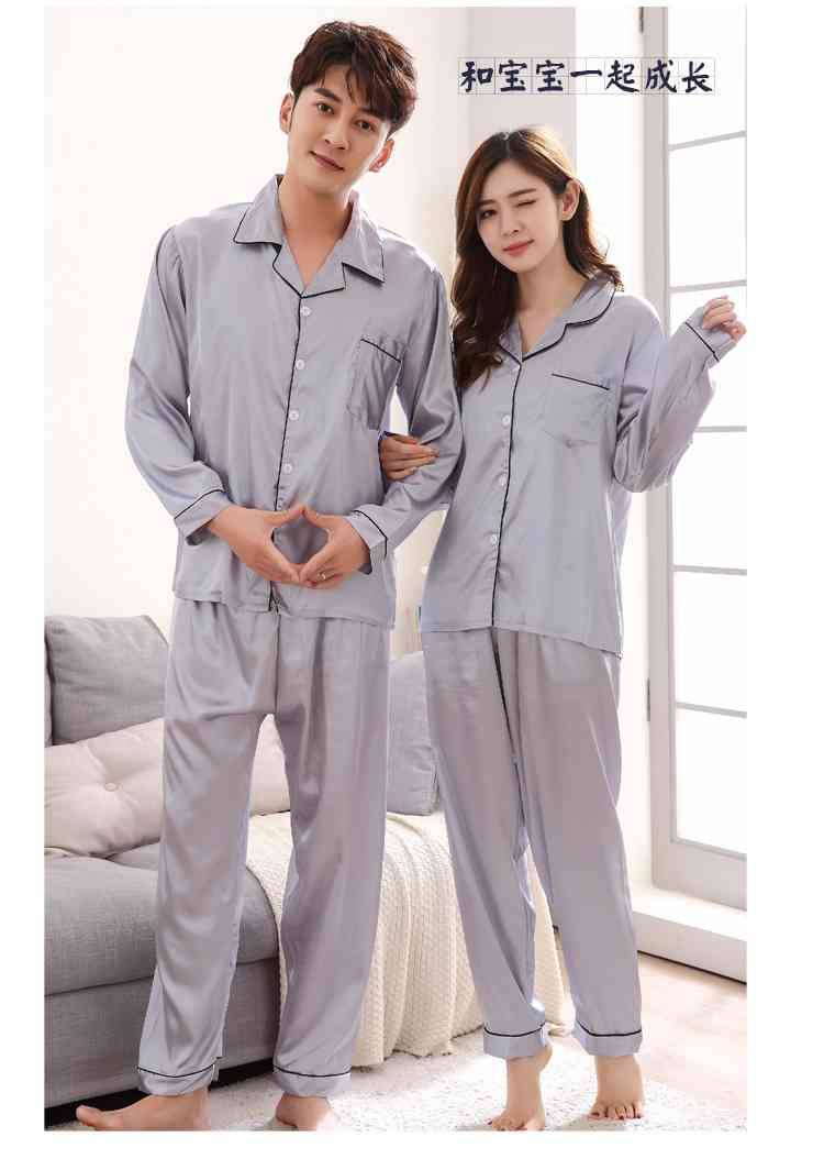 Silk Mother and Daughter Family of Three Outfit Ice Silk Parent-child Pajamas on sale 13