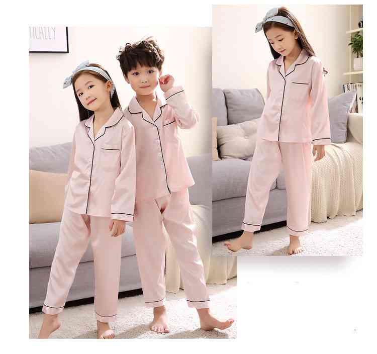 Silk Mother and Daughter Family of Three Outfit Ice Silk Parent-child Pajamas on sale 4