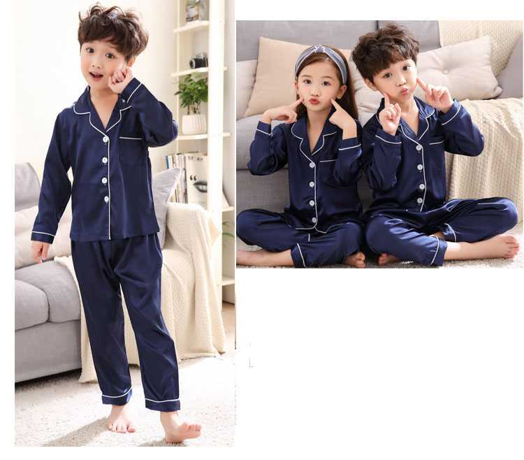 Autumn parent-child silk mother and daughter clothes ice simulation silk home service suit on sale 5