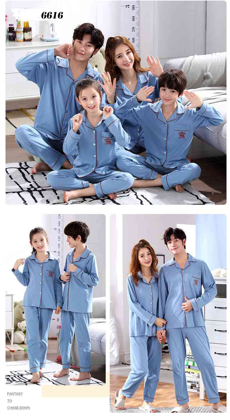 a family of three cotton clothing long-sleeved parent-child pajamas home service on sale