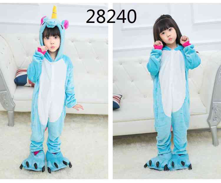 Cartoon animal one-piece pajamas dinosaur unicorn parent-child autumn and winter flannel home service wholesale on sale 19