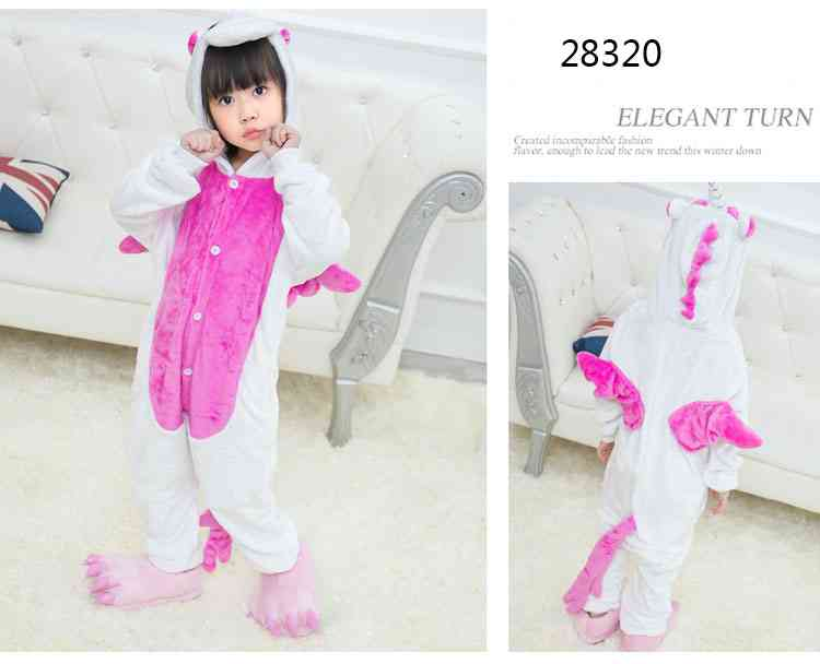 Cartoon animal one-piece pajamas dinosaur unicorn parent-child autumn and winter flannel home service wholesale on sale 1