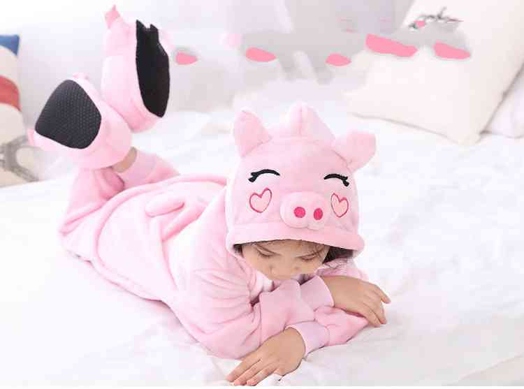 Cartoon animal one-piece pajamas dinosaur unicorn parent-child autumn and winter flannel home service wholesale on sale 4