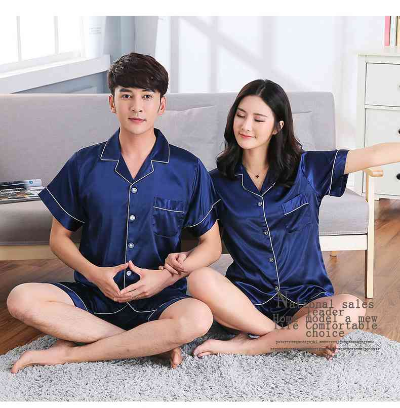 Short-sleeved casual family Suit Ice Silk Couple Home Service on sale 7