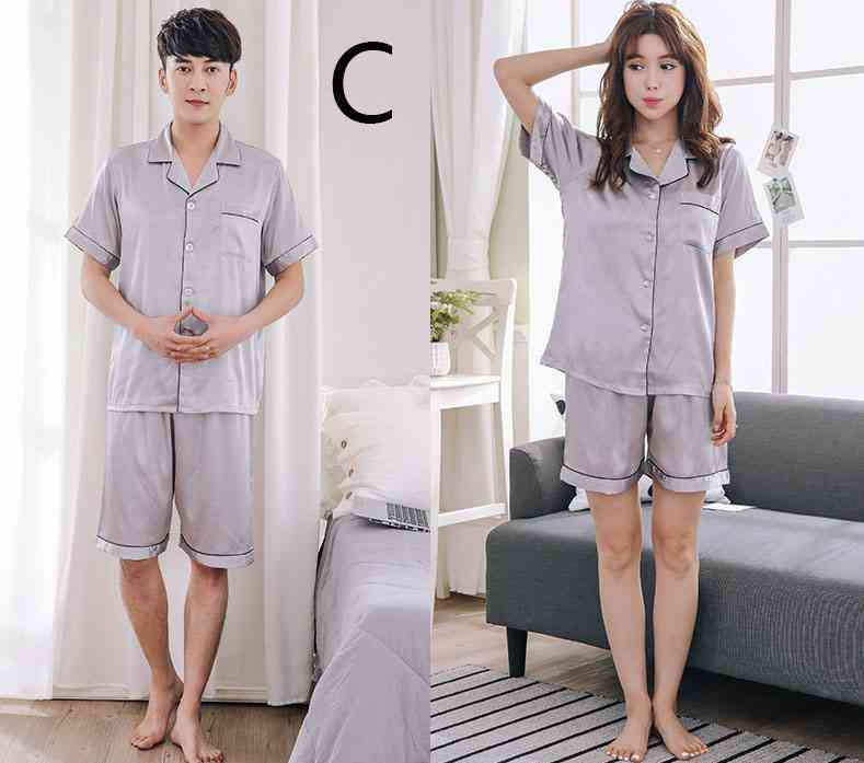 Short-sleeved casual family Suit Ice Silk Couple Home Service on sale 4