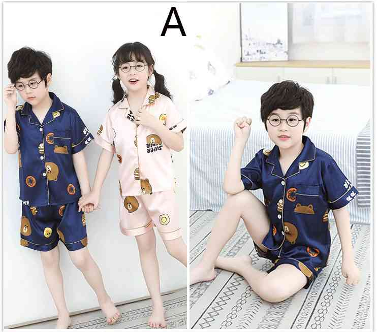 Summer Family Of Three Short Sleeve Mother And Child Cute Cartoon Pajamas on sale 6
