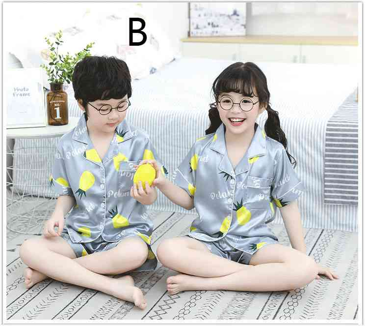 Summer Family Of Three Short Sleeve Mother And Child Cute Cartoon Pajamas on sale 7