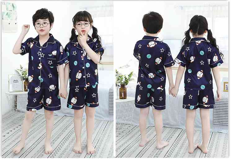 Summer Family Of Three Short Sleeve Mother And Child Cute Cartoon Pajamas on sale 8