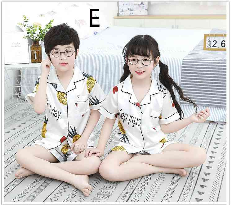 Summer Family Of Three Short Sleeve Mother And Child Cute Cartoon Pajamas on sale 9