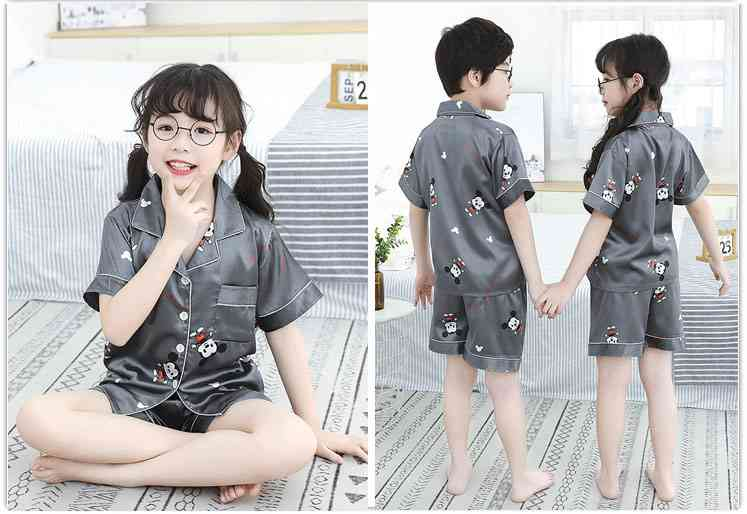 Summer Family Of Three Short Sleeve Mother And Child Cute Cartoon Pajamas on sale 13
