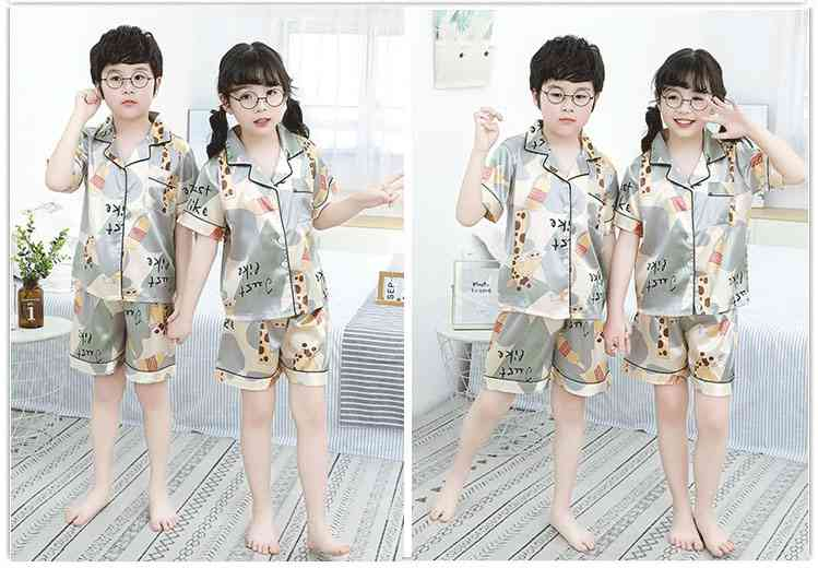 Summer Family Of Three Short Sleeve Mother And Child Cute Cartoon Pajamas on sale 16
