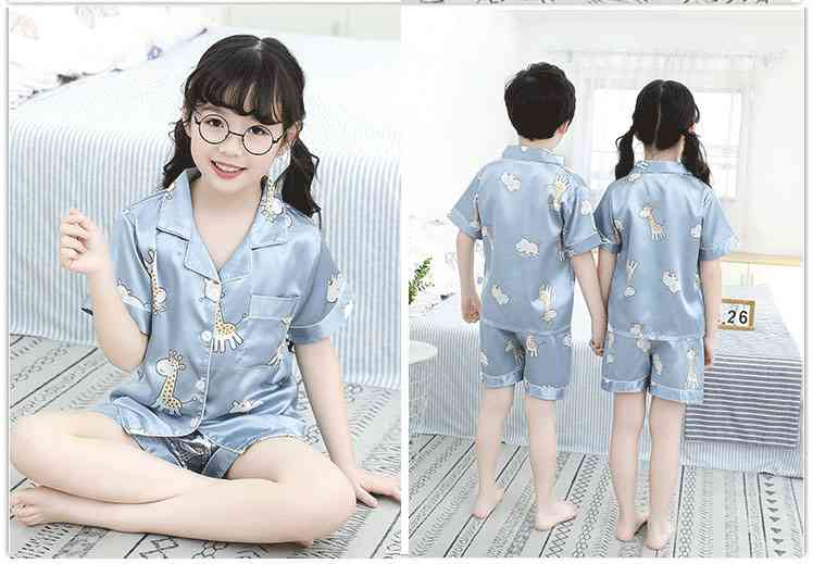 Summer Family Of Three Short Sleeve Mother And Child Cute Cartoon Pajamas on sale 3