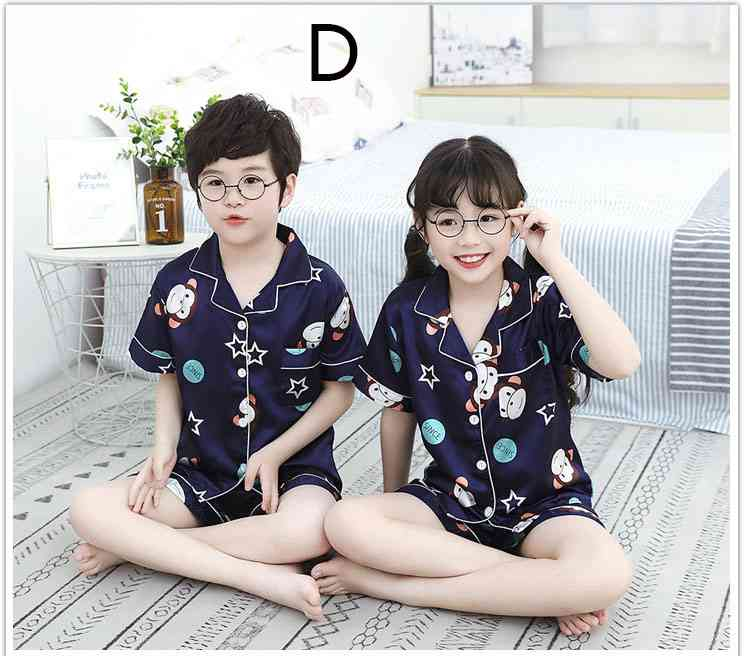 Summer Family Of Three Short Sleeve Mother And Child Cute Cartoon Pajamas on sale 4