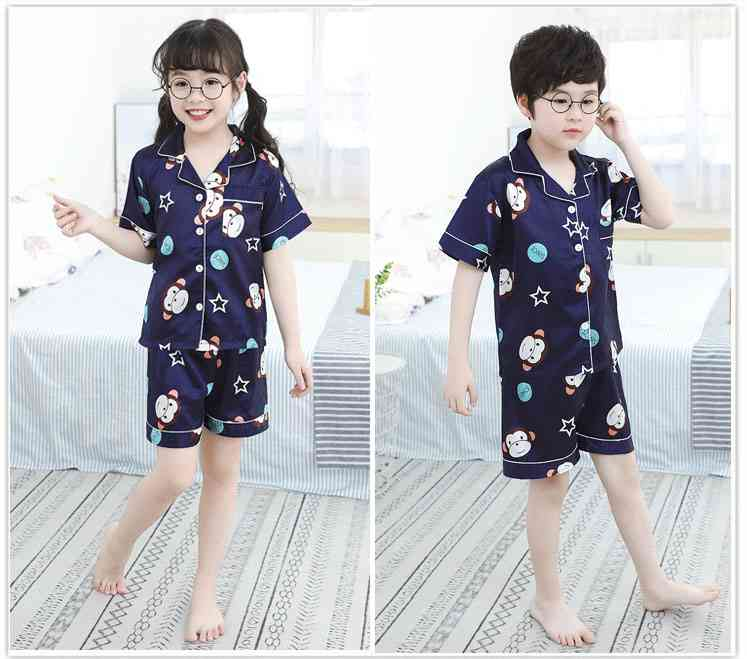 Summer Family Of Three Short Sleeve Mother And Child Cute Cartoon Pajamas on sale 5