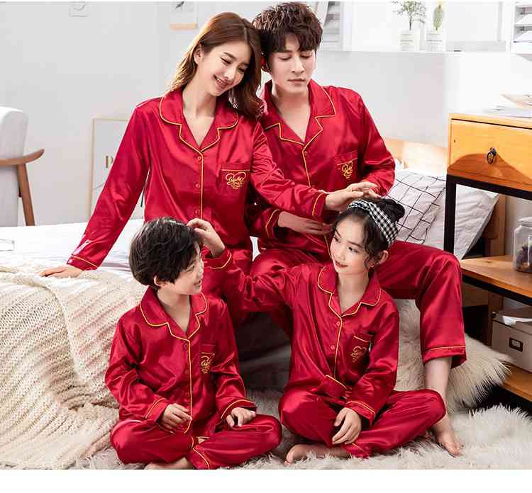 Champagne Gold Ice Silk Long-sleeved Air-conditioned Parent-child Clothing Family Suit on sale 13