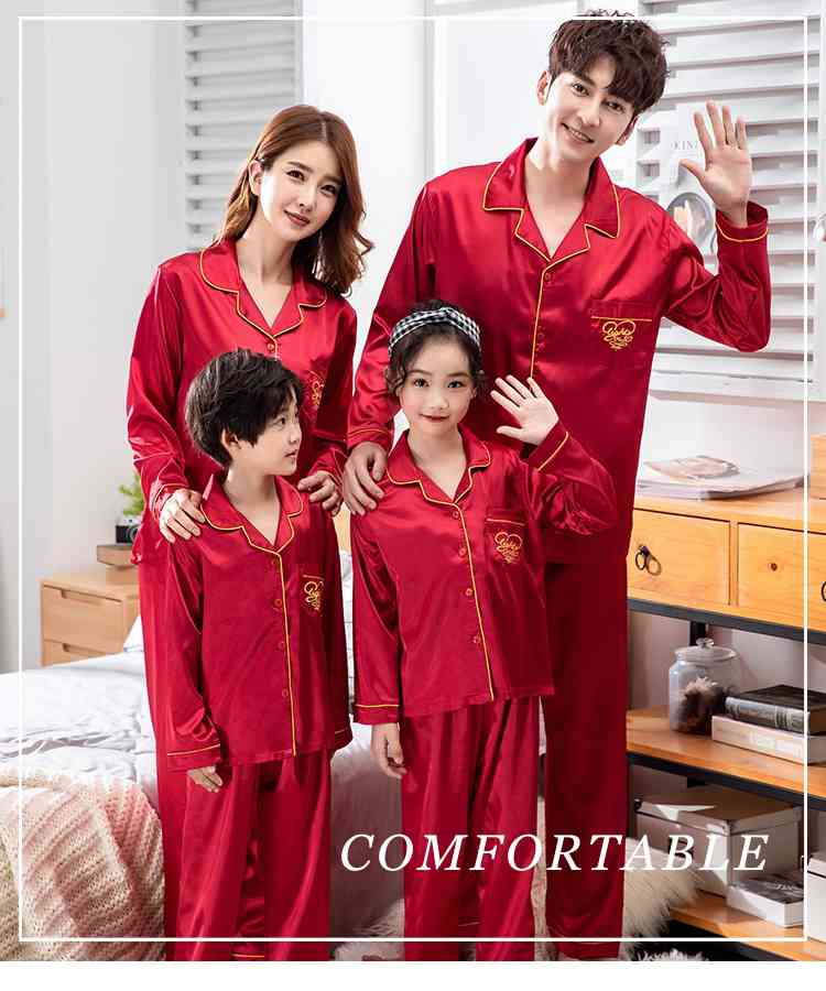 Champagne Gold Ice Silk Long-sleeved Air-conditioned Parent-child Clothing Family Suit on sale 2