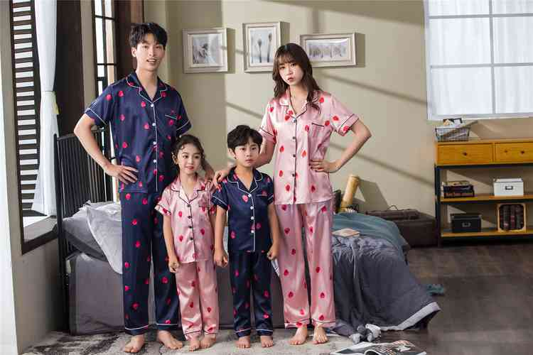 Pink And Blue Strawberry Short-sleeved Thin Section Ice Silk Parent-child Pajamas Suit on sale 10
