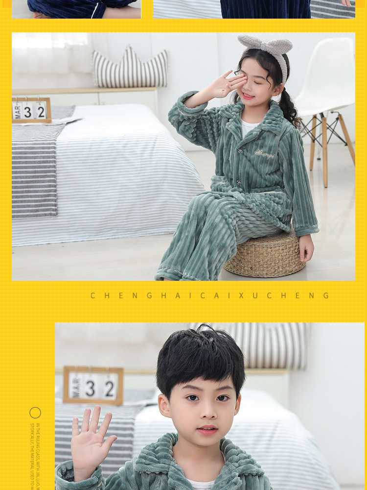 Children's flannel family wear thick Korean pajamas set home service on sale 6