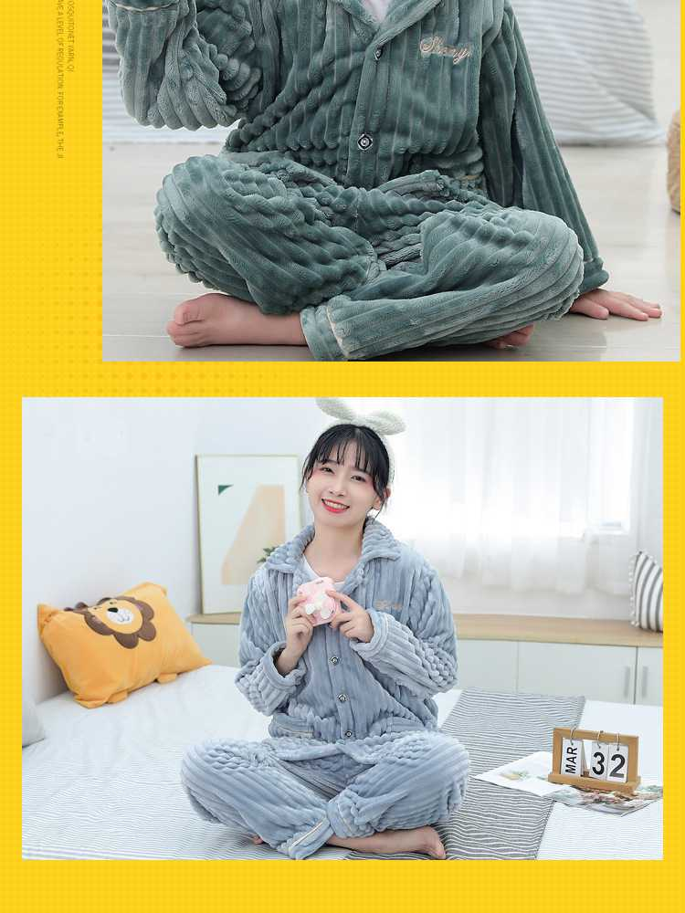 Children's flannel family wear thick Korean pajamas set home service on sale 10