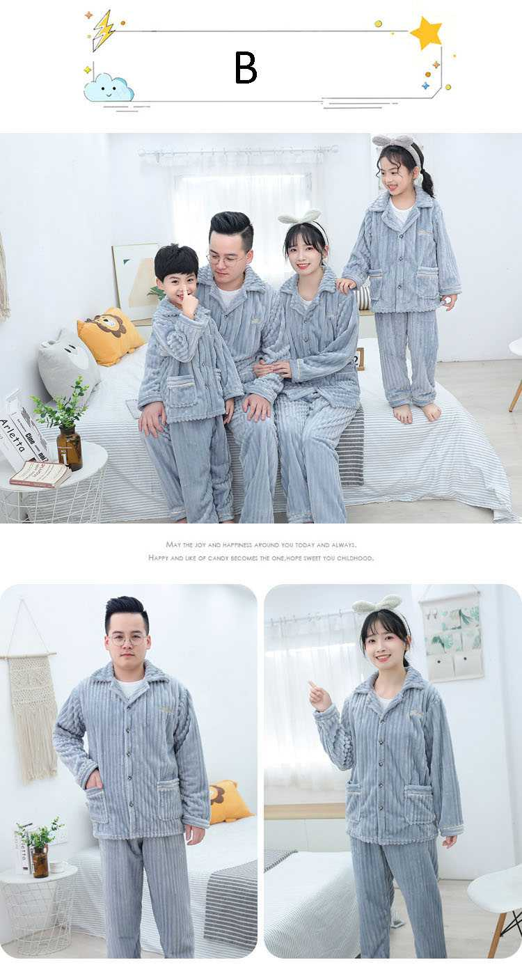 Children's flannel family wear thick Korean pajamas set home service on sale 1