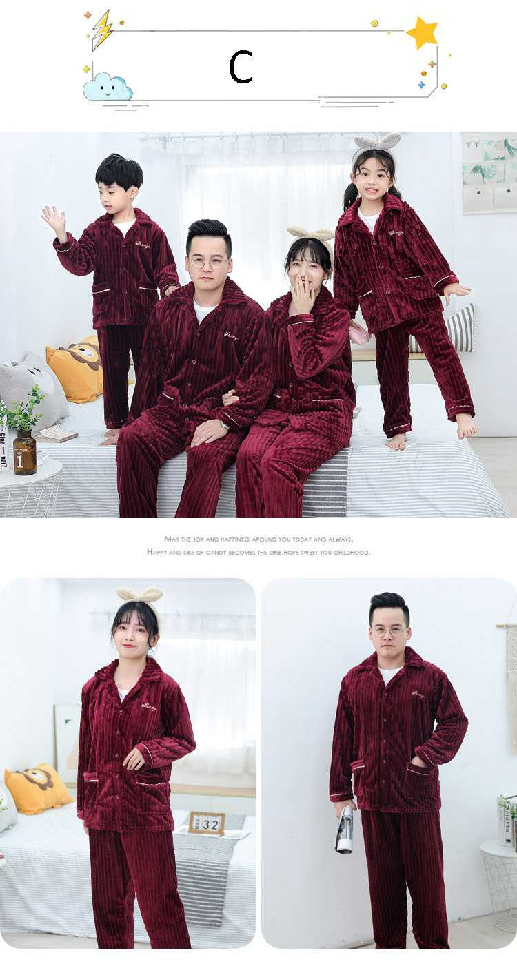 Children's flannel family wear thick Korean pajamas set home service on sale 3