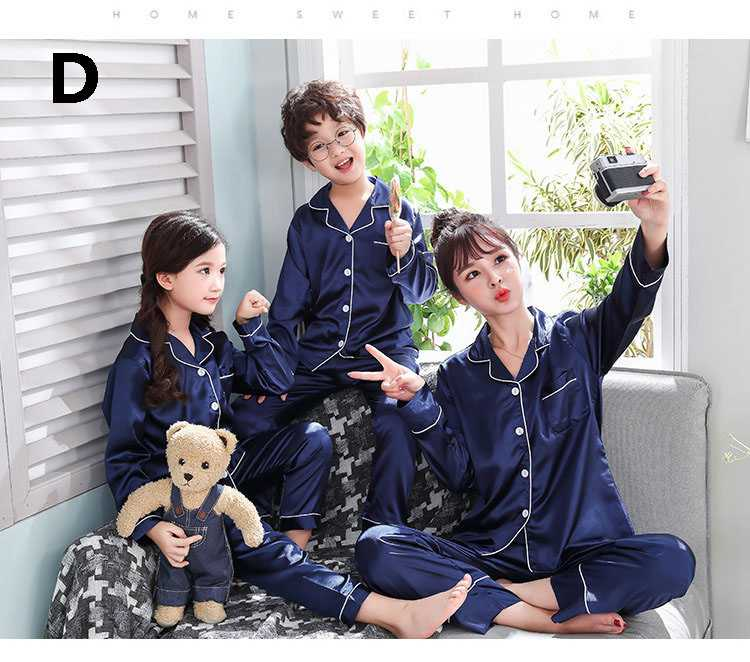 New pajamas for a family of three cartoon ice silk long-sleeved spring and autumn family suit on sale 6