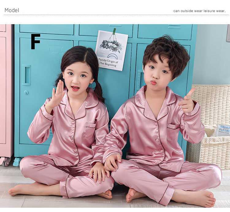 New pajamas for a family of three cartoon ice silk long-sleeved spring and autumn family suit on sale 8