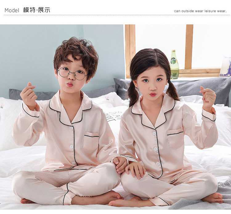 New pajamas for a family of three cartoon ice silk long-sleeved spring and autumn family suit on sale 2