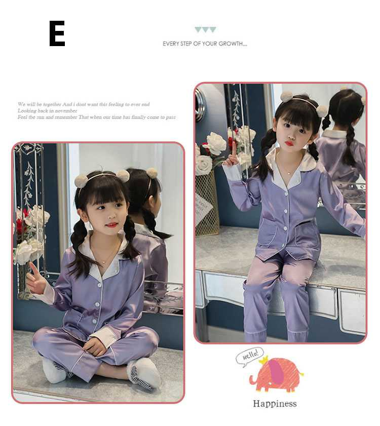New pajamas for a family of three cartoon ice silk long-sleeved spring and autumn family suit on sale 4