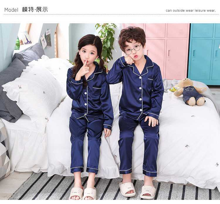 New pajamas for a family of three cartoon ice silk long-sleeved spring and autumn family suit on sale 5