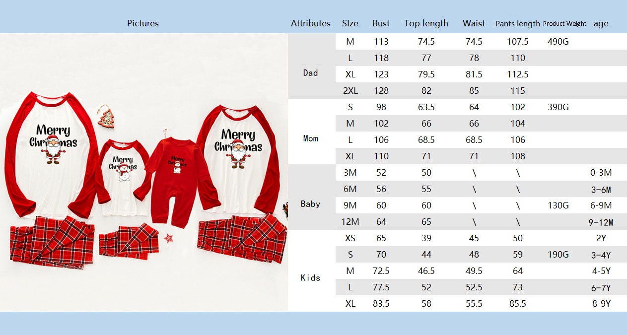 Christmas pajamas family with European and American parent-child wear on sale 1