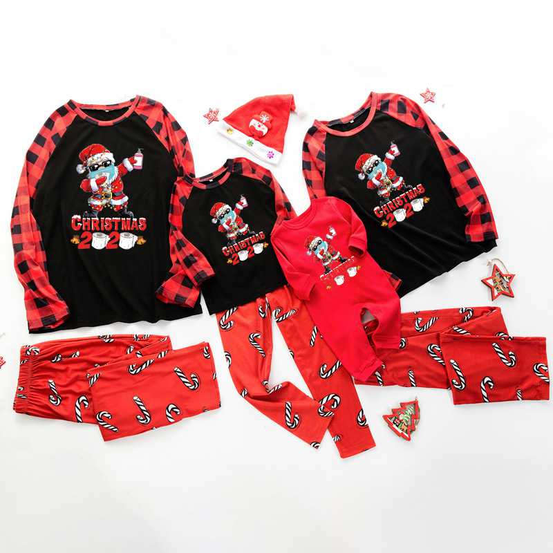 Christmas gift letter printing epidemic element family matching pajamas set on sale 1
