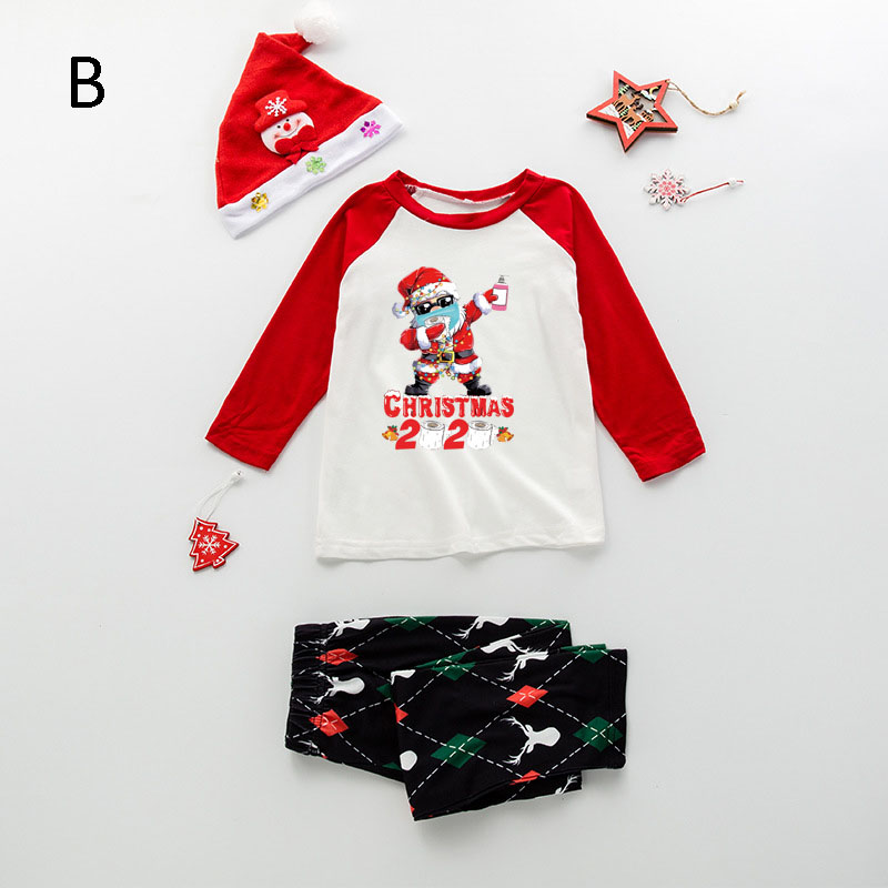 Christmas gift letter printing epidemic element family matching pajamas set on sale 4